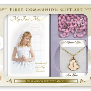 communion gift set-girl- pink roasry