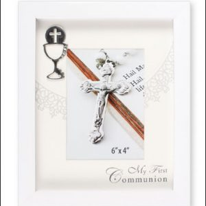 communion photo frame- white finish symbolic